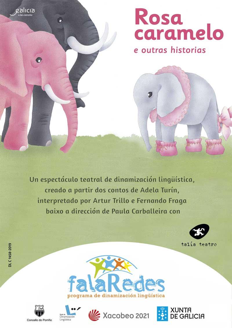 """Cartel teatro infantil: """"Rosa Caramelo e outras historias"""""""