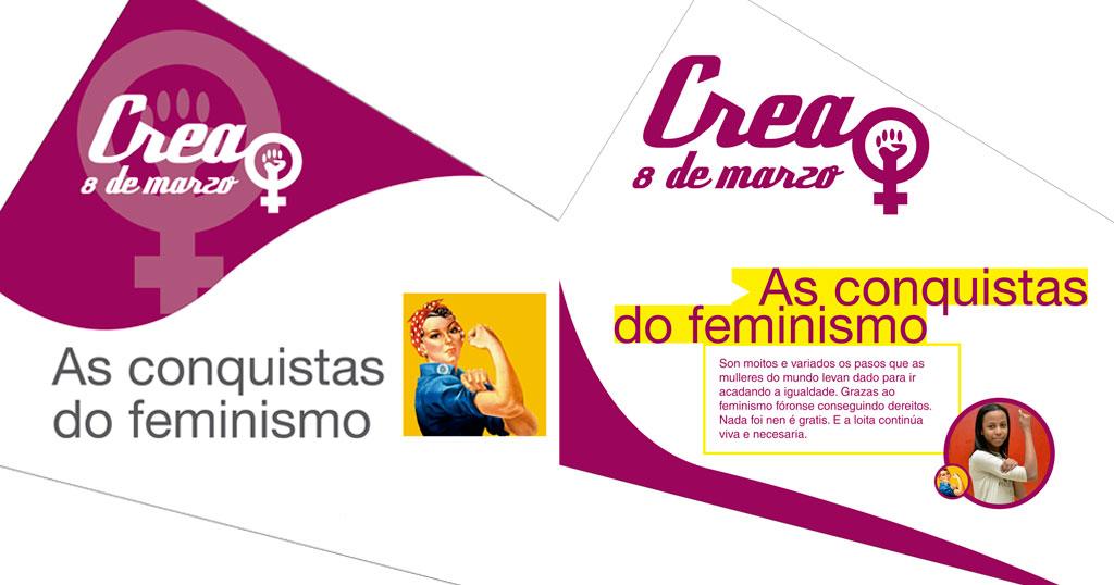 """Exposición: """"Crea 8 de marzo. As conquistas do feminismo"""""""