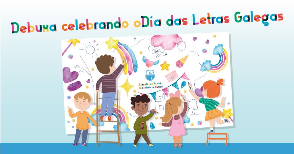 Debuxa celebrando o Dia das Letras Galegas