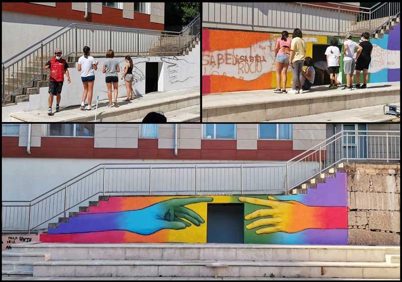 Presentación do mural elaborado polos membros do Consello da Infancia e Adolescencia do Porriño